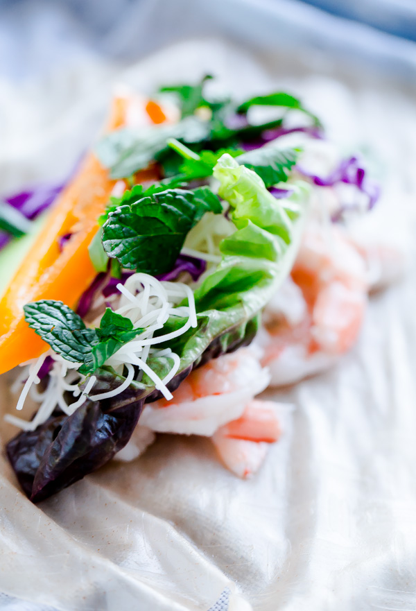 Brown Rice Shrimp Summer Rolls with Peanut Lime Dipping Sauce. A healthy, gluten-free dish!