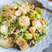 Brussels Sprouts Salad with Hazelnuts, Parmesan, and Pomegranate Molasses Vinaigrette