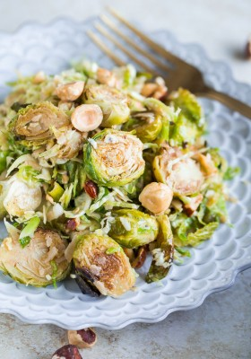 Brussels Sprouts Salad with Hazelnuts, Parmesan, and Pomegranate ...