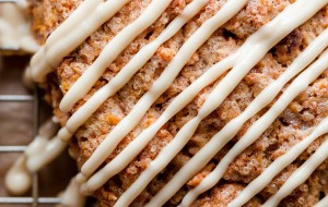 Carrot Cake Scones with Maple Cream Cheese Glaze