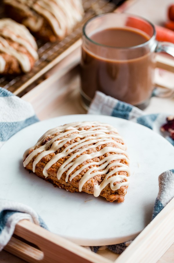 Carrot Cake Scones with Maple Cream Cheese Glaze with Coffee