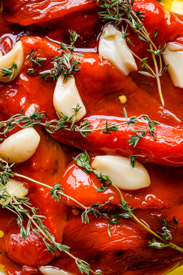 Once the bell peppers have been roasted, they are chopped roughly in a ...