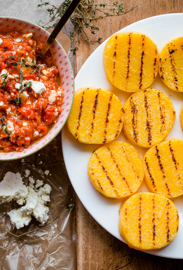 Grilled Polenta Bites with Roasted Red Pepper, Feta, and ...