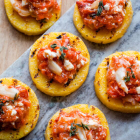 Grilled Polenta Bites with Roasted Red Pepper Feta Spread