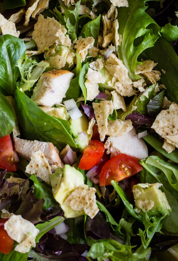 Guacamole Greens Salad with Lime Cilantro Jalapeno Vinaigrette