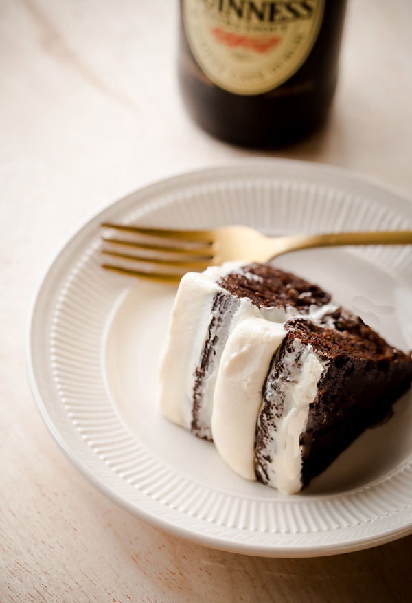 Slice of Guinness Stout Cake with Bailey's Cream Cheese Frosting