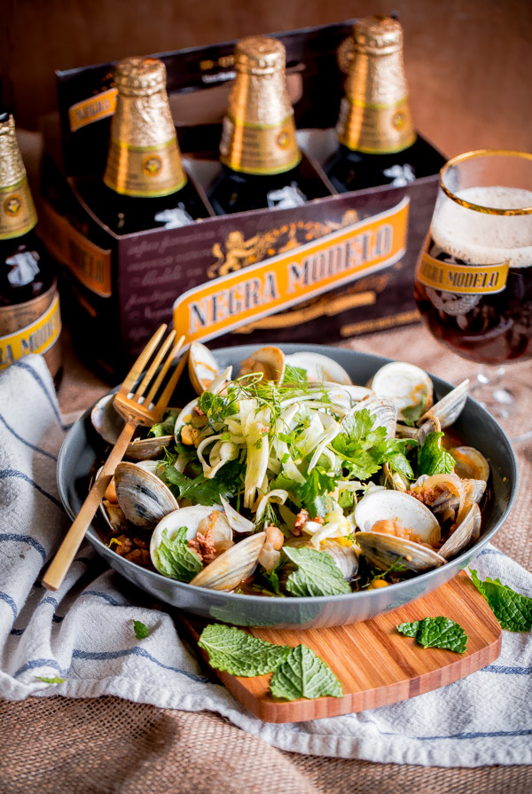 Beer Steamed Clams with Chorizo and Shaved Fennel Herb Salad