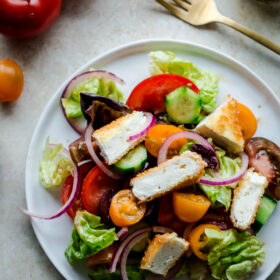 Greek Salad with Crispy Feta