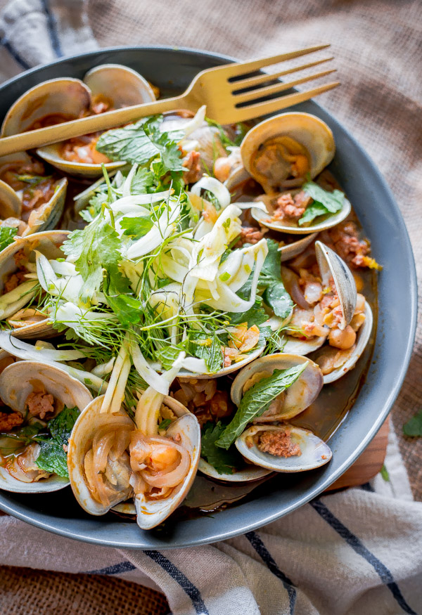 Beer Steamed Clams with Chorizo