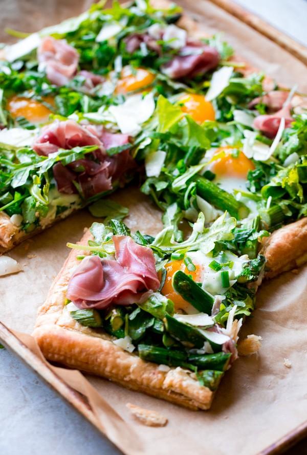 Asparagus Egg Prosciutto Tart with Summer Salad