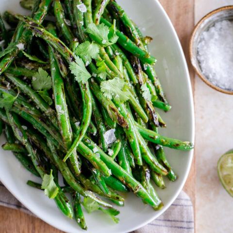 Charred Green Beans with Cilantro-Lime Vinaigrette