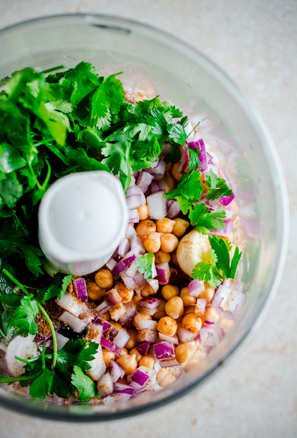 Falafel Ingredients in Food Processor Bowl