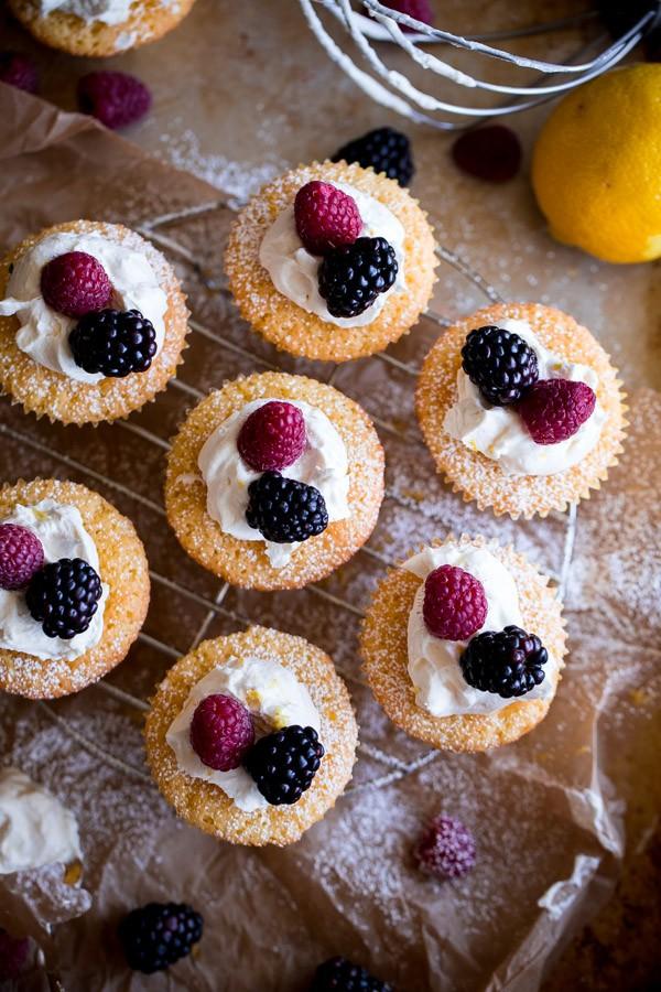 Mini Cornmeal Cakes with Whipped Mascarpone and Fresh Berries