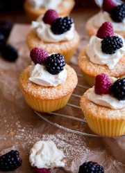 Mini Cornmeal Cakes with Whipped Mascarpone and Fresh Berries. A simple summer dessert that can be prepared in less than 45 minutes!