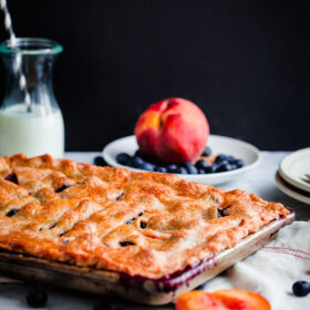 Blueberry Peach Slab Pie. The ultimate summer dessert!