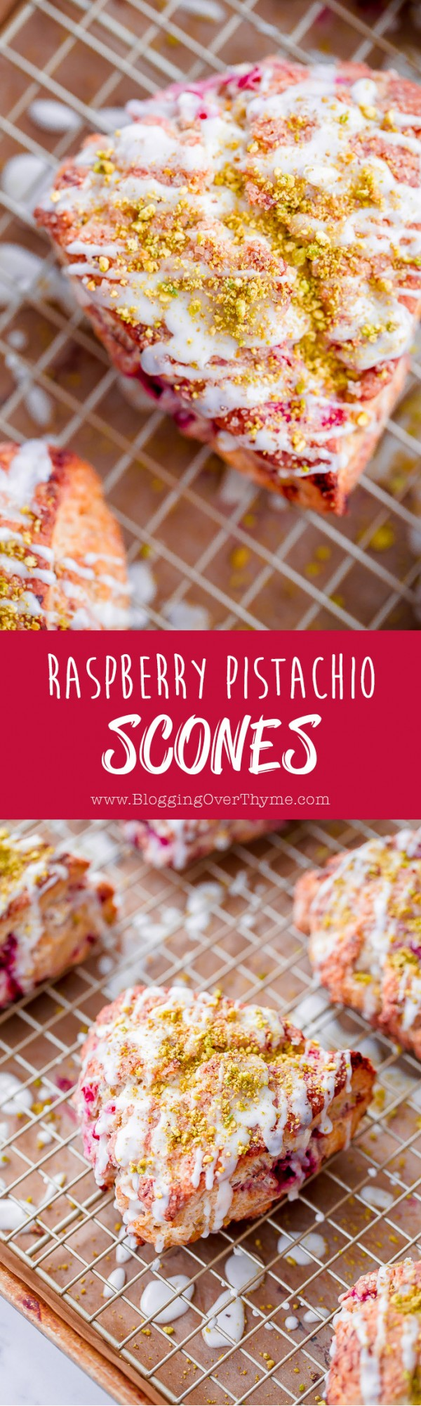 Raspberry Pistachio Scones with Lemon Glaze. So delicious and flaky!