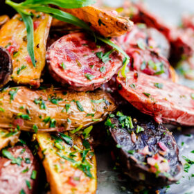 Roasted Fingerling Potatoes with Tarragon-Shallot Butter. This addictive side dish can be prepared in less than 30 minutes!