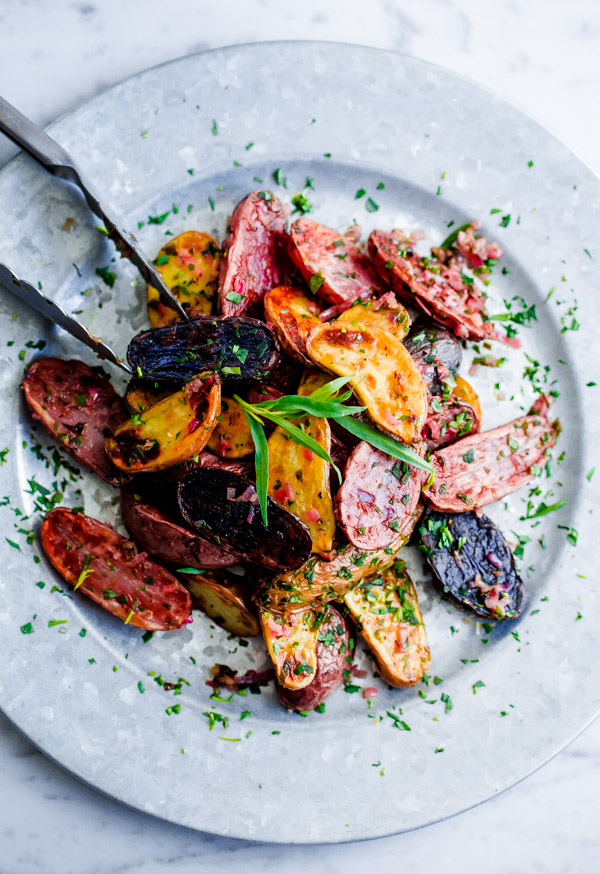 Roasted Fingerling Potatoes with Tarragon-Shallot Butter. This flavorful, addictive side dish can be prepared in less than 30  minutes!
