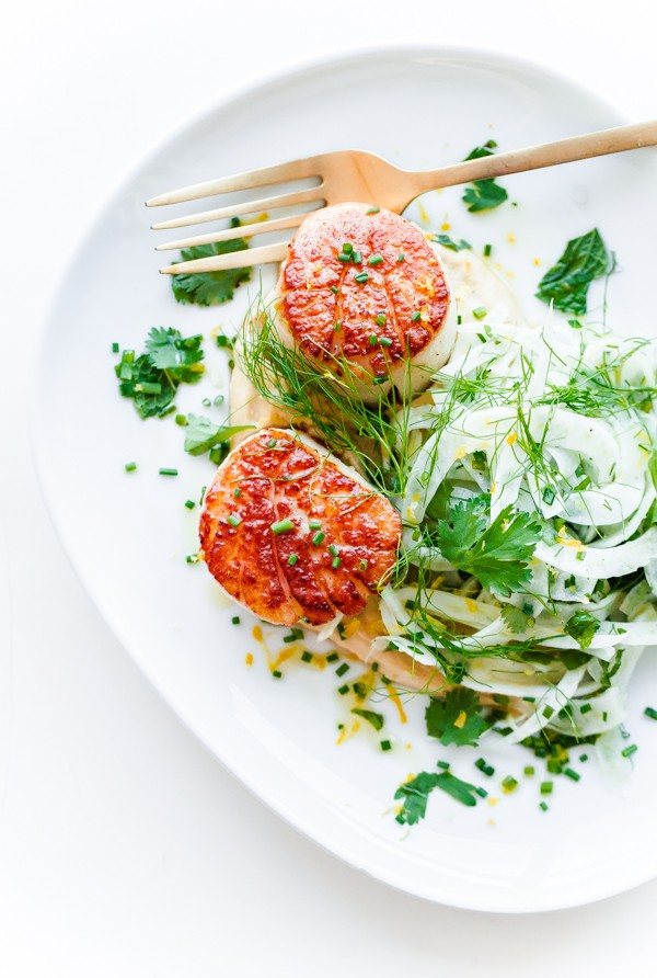 Seared Scallops with Shaved Fennel Salad