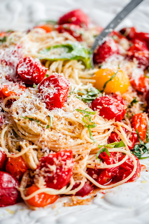 Roasted Tomato Spaghettini with Basil and Garlic Breadcrumbs