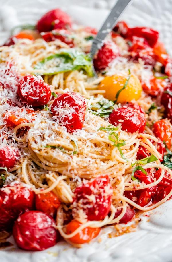 Spaghettini with Roasted Tomatoes, Fresh Basil, and Toasted Garlic Breadcrumbs