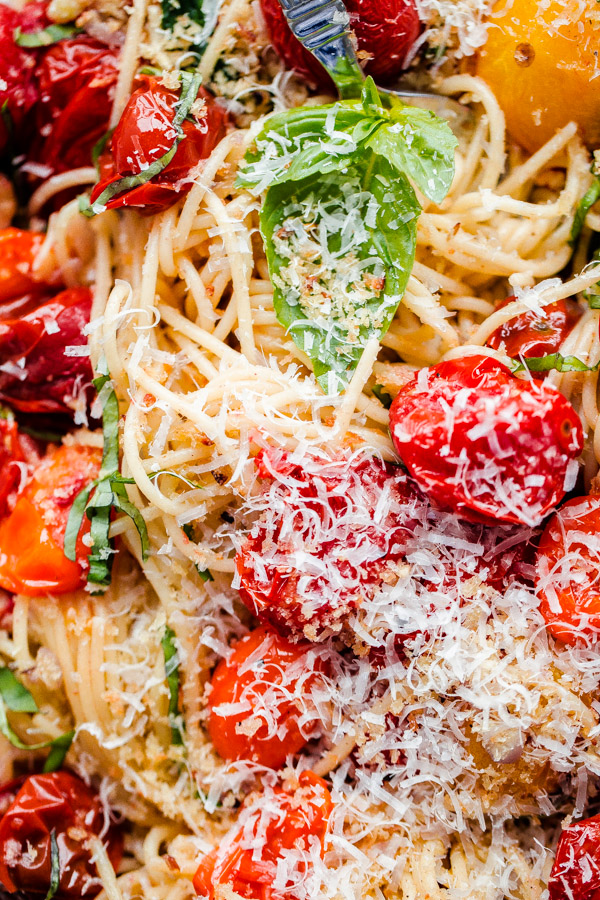Roasted Tomato Pasta with Parmesan and Fresh Basil