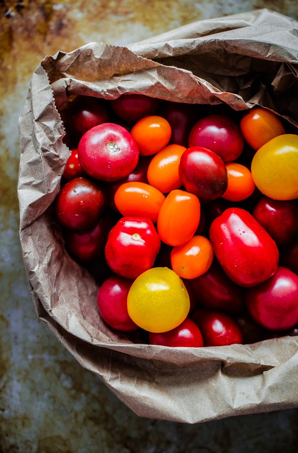 Small Heirloom Tomatoes in Paper Bag