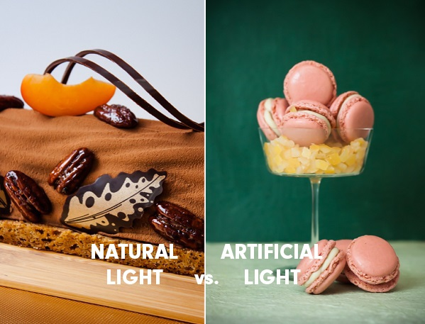 Artificial Light food photograph versus Natural Light Food Photograph example