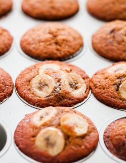 Banana Chocolate Chunk Espresso Muffins.