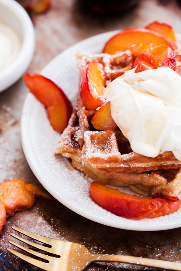 belgian-buttermilk-waffles-with-roasted-peaches-and ...