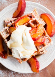 Belgian Buttermilk Waffles with Roasted Peaches and Vanilla Mascarpone. Tastes like peach pie!