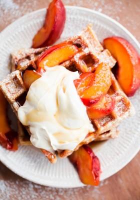 Belgian Buttermilk Waffles with Roasted Peaches and Vanilla Mascarpone. Tastes like peach pie!