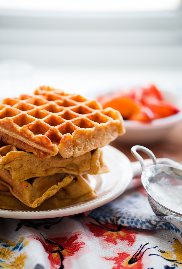 Belgian Buttermilk Waffles with Roasted Peaches and Vanilla