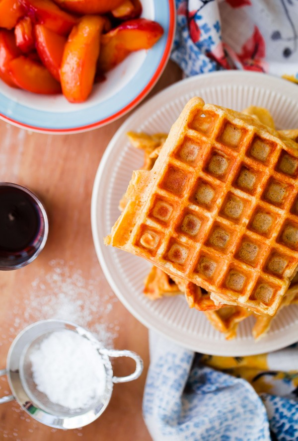 Belgian Buttermilk Waffles with Peaches