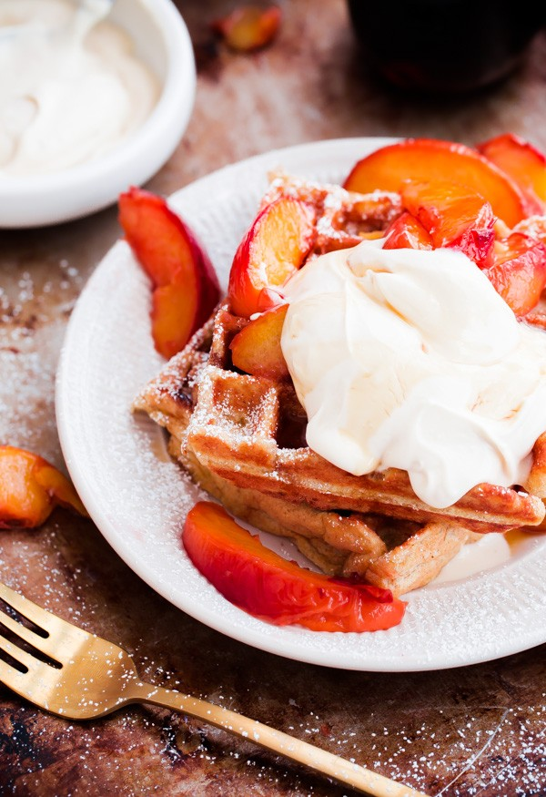 Beligan Buttermilk Waffles with Peaches and Mascarpone