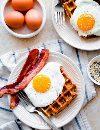 Everything Bagel Breakfast Waffles