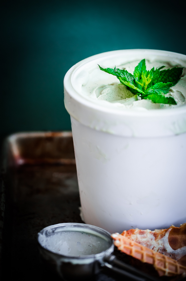 Fresh Vanilla Mint Ice Cream. This ice cream is flavored with fresh mint leaves only and is so refreshing!