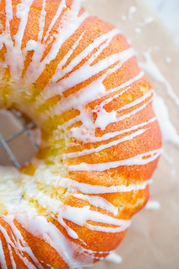 Zucchini Cardamom Bundt Cake with Lemon Glaze
