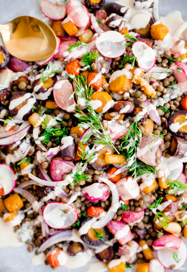Roasted Carrot Lentil Salad with Tahini Dressing. A hearty, protein-packed salad for fall!