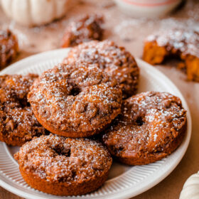 Baked Pumpkin Doughnuts with Cardamom Crumble. So EASY, fluffy, and flavorful!