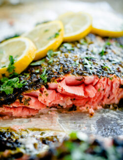 Weeknight Broiled Salmon with Chermoula Herb Crust. Easy, delicious dinner that can be prepared in prepped and cooked in less than 20 minutes!