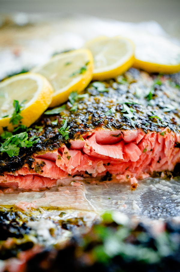 Weeknight Broiled Salmon with Chermoula Herb Crust. This recipe can be prepared in less than 20 minutes and makes a great, flavorful weeknight dinner!