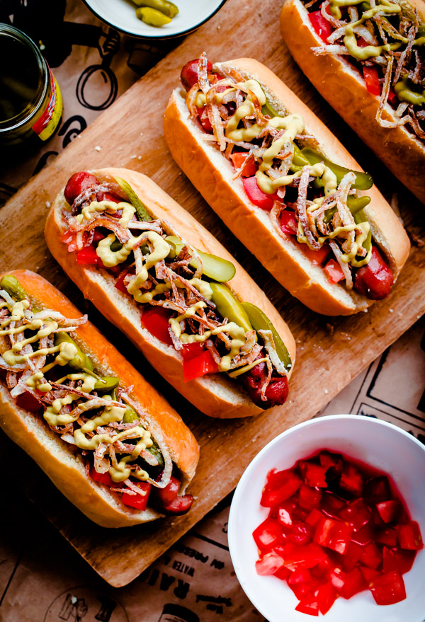 Fancy Chicago-Style Hot Dogs topped with celery salt fried onions ...
