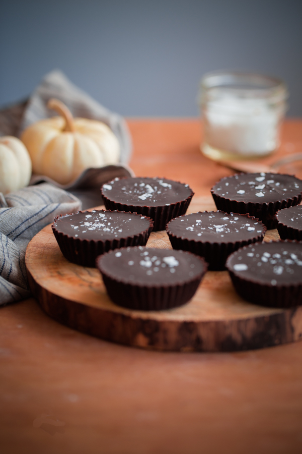 Homemade Spiced Almond Butter Chocolate Cups. An easy fall twist on a classic chocolate peanut butter cup!