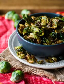 Fried Brussel Sprout Leaves with Chili and Lemon