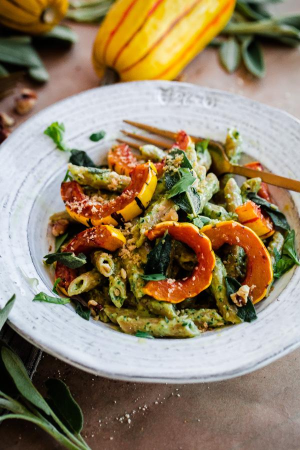 whole-wheat-pasta-with-walnut-sage-pesto-and-roasted ...