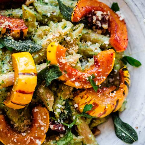 Walnut Sage Pesto Pasta with Roasted Delicata Squash