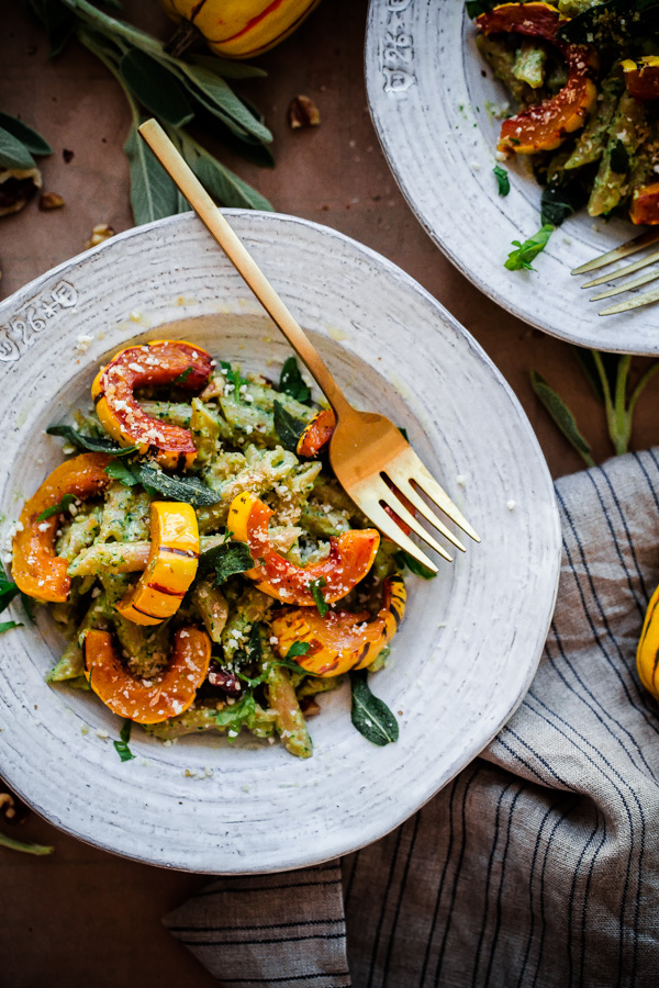 Whole wheat pasta with walnut sage pesto and roasted delicata squash whole wheat pasta with walnut sage pesto and roasted delicata squash a delicious forumfinder Images