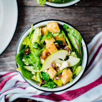 Apple, Feta, and Candied Pecan Salad with Sourdough Croutons
