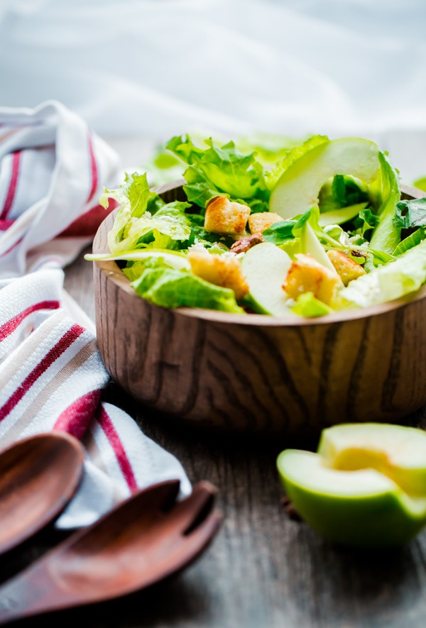 Apple Feta and Candied Pecan Salad with Sourdough Croutons. A light and refreshing winter salad!